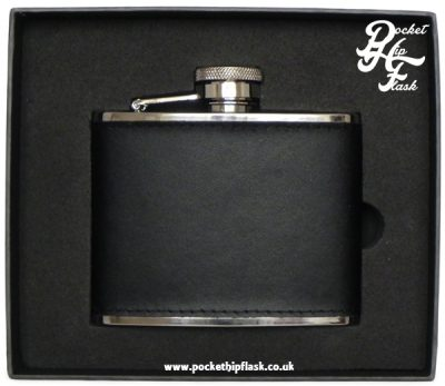 4oz Steel Hip Flask with Leather covering and captive top