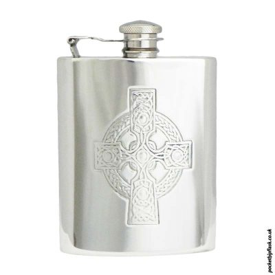 Celtic-Cross-Pewter-Hip-Flask-6oz-with-Captive