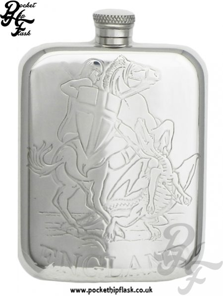 England St George and Dragon Pewter Hip Flask 6oz without Captive Top