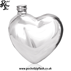 Hip Flasks in the Summer - Heart Shaped Pewter Hip Flask 6oz