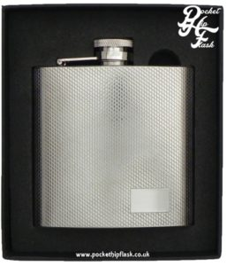 Stainless Steel Barley Pattern Hip Flask, with Captive Top 6oz