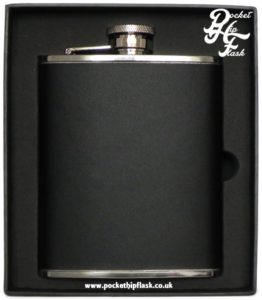Stainless Steel Hip Flask encased in Leather, with Captive Top 6oz