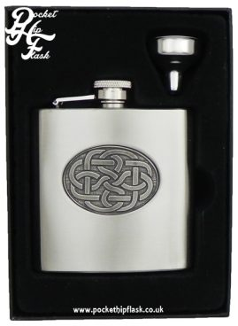 Stainless Steel Hip Flask with Celtic Knot Pewter Badge, with Captive Top 6oz