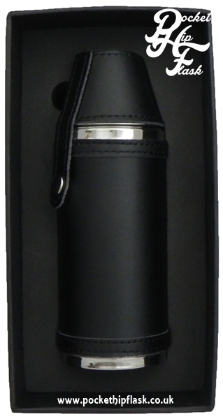 Stainless Steel Hunters Flask encased in Black Leather 8oz