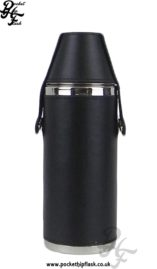 Stainless Steel Hunters Flask encased in Black Leather NW