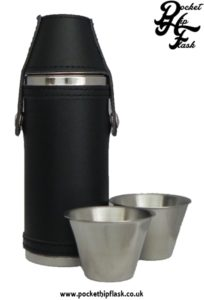 Stainless Steel Hunters Flask encased in Black Leather with cups