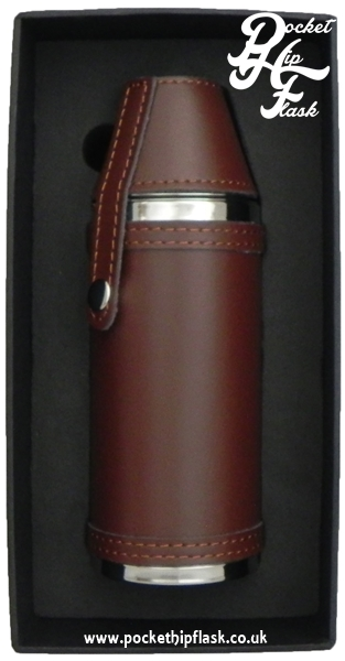 Stainless Steel Hunters Flask in Brown Leather 8oz