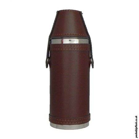 Stainless-Steel-Hunters-Flask-in-Brown-Leather-and-top