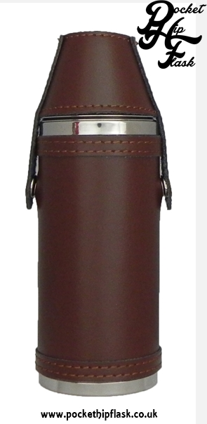 Stainless Steel Hunters Flask in Brown Leather and top