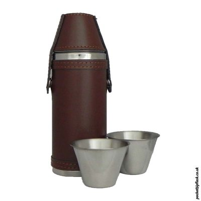Stainless-Steel-Hunters-Flask-in-Brown-Leather-with-cups