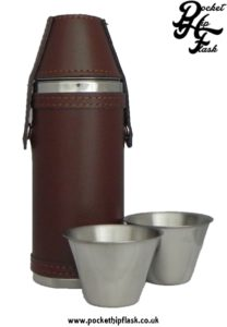 Stainless Steel Hunters Flask in Brown Leather with cups