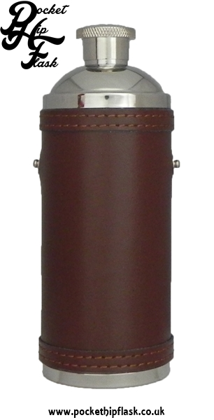 Stainless Steel Hunters Flask in Brown Leather without Top