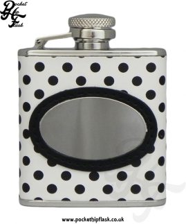 2.5oz Stainless Steel Hip Flask with White and Black Poker Dot Letherette