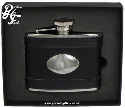 4oz Black Leather Stainless Steel Hip Flask