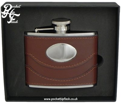 4oz Brown Leather Stainless Steel Hip Flask