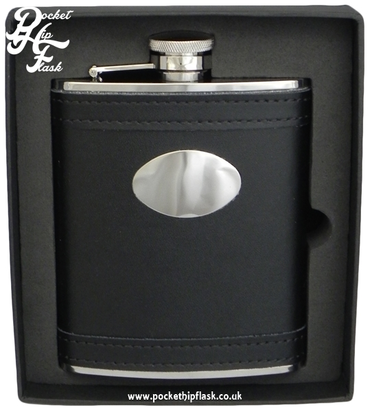 6oz Black Leather Stainless Steel Hip Flask