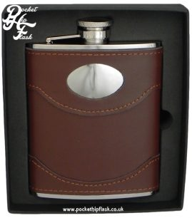 6oz Brown Leather Stainless Steel Hip Flask