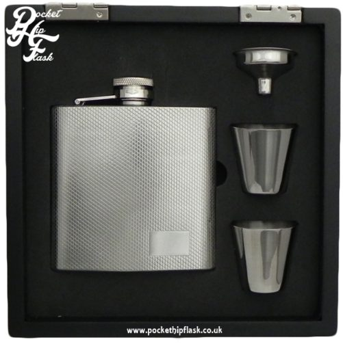 6oz Stainless Steel Hip Flask and Cups gift set in black wooden presentation box