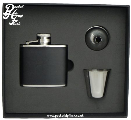 Black Leatherette Stainless Steel Hip Flask and Cup set