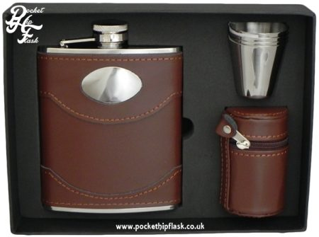 Brown Leather Hip Flask set with four cups and Brown Letaher Cup Case 6oz stainless steel