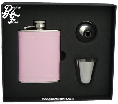 Pink Leatherette Stainless Steel Hip Flask and Cup set