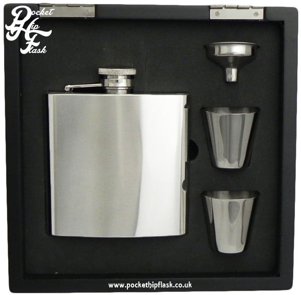 Shiny 6oz Stainless Steel Hip Flask and Cups gift set in black wooden presentation box