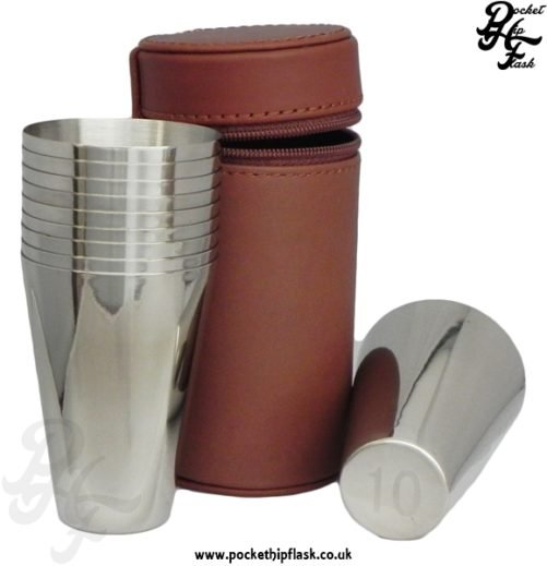 10 Stainless Steel Cup Set in Spanish Leather Case