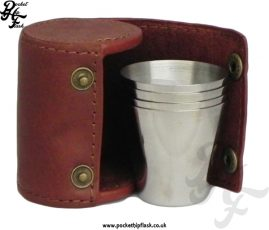 4 Stainless Steel Cups with Spanish Leather Case