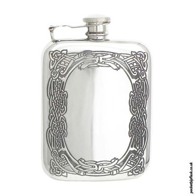 6oz-Celtic-Knot-cushion-pewter-hip-flask-with-captive-top