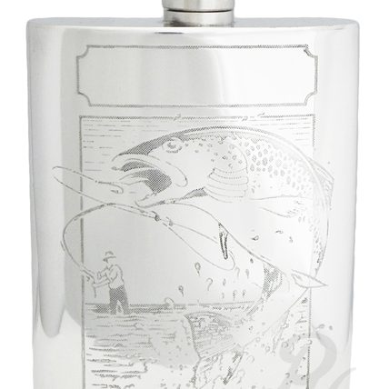 6oz Pewter Hip Flask with Fishing Scence