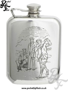 6oz Pewter Hip Flask with Golfer with Captive Top