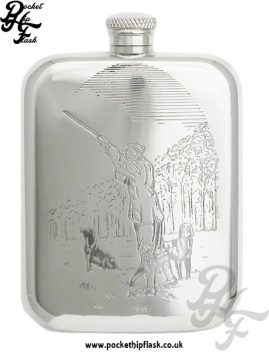 6oz Pewter Hip Flask with Man Shooting