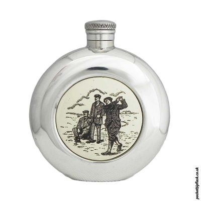 6oz-Pewter-Scrimshaw-Hip-flask-with-Resin-insert-of-Men-Playing-Golf