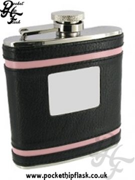 6oz Stainless Steel Hip Flask With Black and Pink leather
