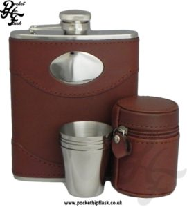 6oz Stainless Steel Hip Flask and Cups Gift Set Luxury Brown Spanish Leather