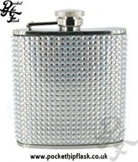 6oz Stainless Steel Hip Flask with Diamante