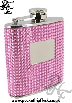 6oz Stainless Steel Hip Flask with Pink Diamante