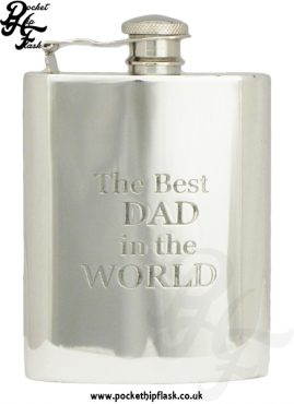 Fathers day 'the best dad in the world' 6oz hip flask with captive top
