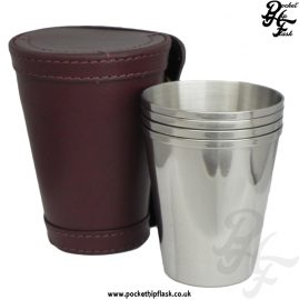 Leather Case and 4 Cup Stainless Steel Set