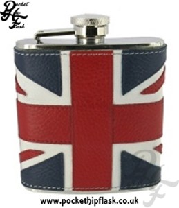 Stainless Steel union jack Leather 6oz Hip Flask
