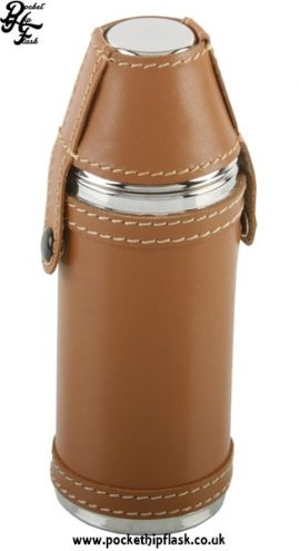 Stainless Steel Hunters Flask in Tan Leatherette 8oz