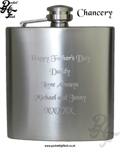 Chancery Hip Flask Engraving Example