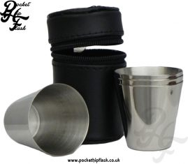 1oz Stainless Steel 4 Cup Set in Black Leather Case