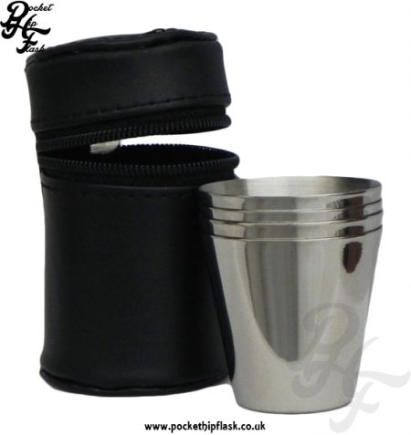 1oz Stainless Steel Cup Set in Black Leather Case