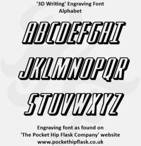 3D Writing Engraving Font capitals