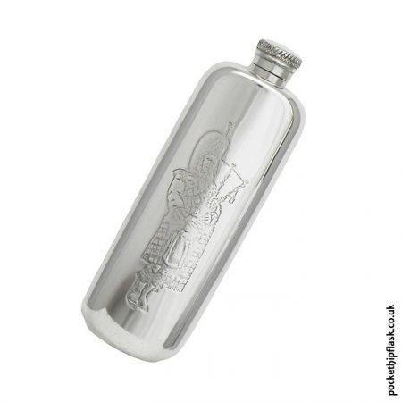 3oz-Scottish-piper-pewter-hip-flask
