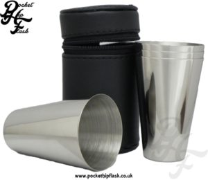 4oz Stainless Steel Cup Set with Leather Case