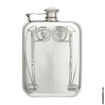 6oz-Charles-Rennie-Mackintosh-Pewter-Hip-Flask-with-Captive-top