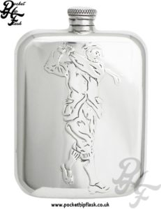 6oz Pewter Hip Flask with Golfer
