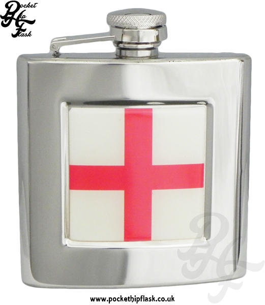 6oz Stainless Steel Hip Flask With Captive Top and England Badge